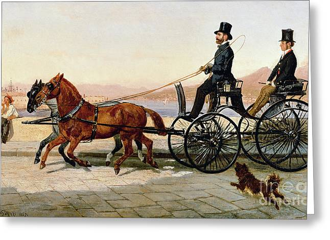 Strolling In Via Caracciolo In Naples, 1857 Greeting Card