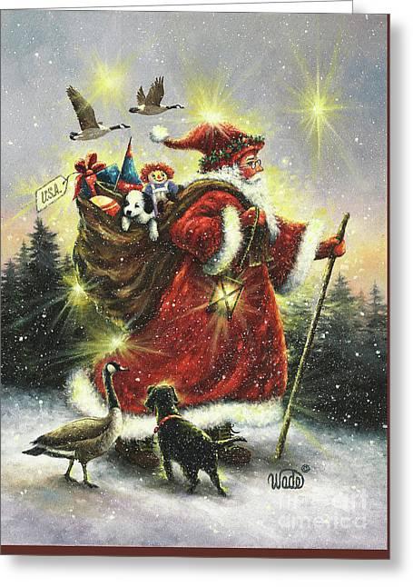 Strolling Santa Greeting Card by Vickie Wade