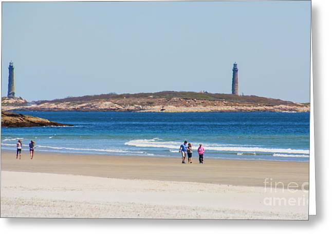 Strolling The Beach Greeting Card