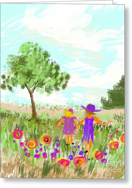 Strolling Thru The Field Greeting Card by Elaine Lanoue