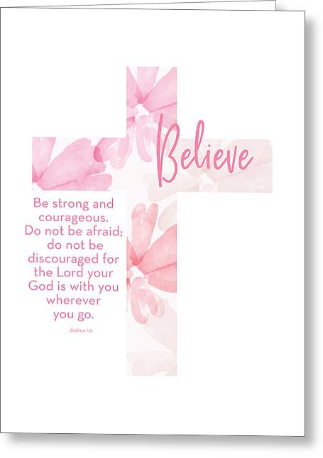 Strong And Courageous Cross- Art By Linda Woods Greeting Card