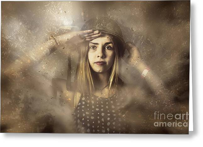Strong Tough And Beautiful Pinup Soldier Girl  Greeting Card by Jorgo Photography - Wall Art Gallery