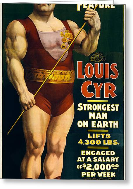 Strongest Man On Earth - Vintage Strongman Greeting Card by War Is Hell Store