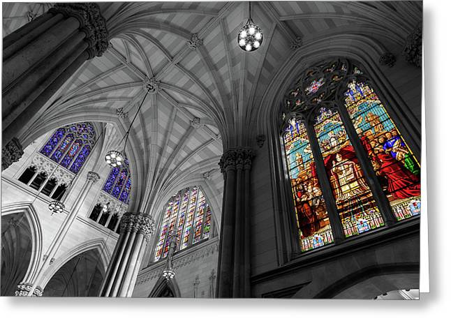 Structures Of St. Patrick Bw 2 Greeting Card by Jonathan Nguyen