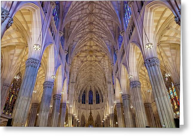 Structures Of St. Patrick Cathedral 1 Greeting Card by Jonathan Nguyen