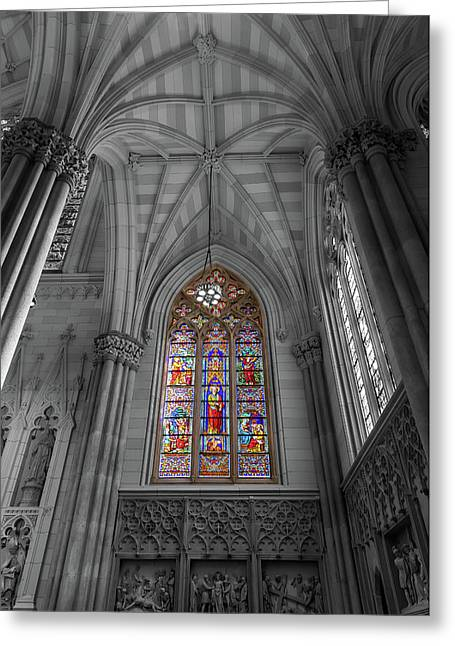 Structures Of St. Patrick Cathedral Bw Greeting Card by Jonathan Nguyen