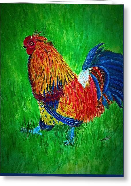 Strutting  Batam Rooster Greeting Card