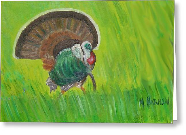 Greeting Card featuring the painting Strutting Turkey In The Grass by Margaret Harmon