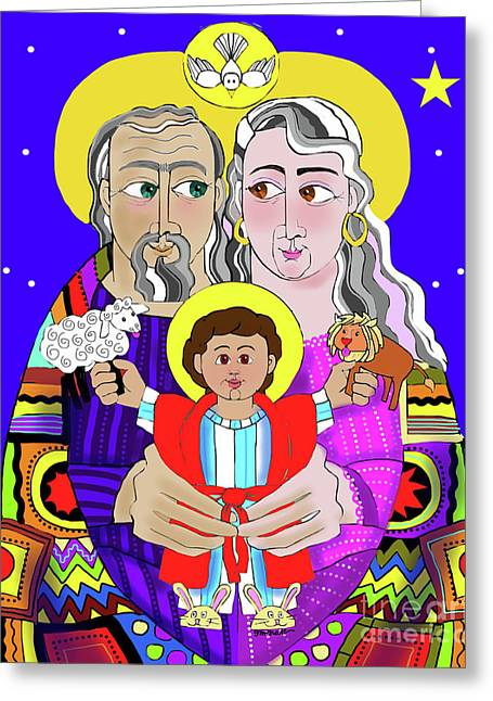 Sts. Ann And Joachim, Grandparents With Jesus - Mmjag Greeting Card