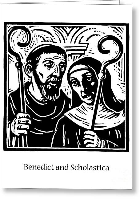 Sts. Benedict And Scholastica - Jlbas Greeting Card