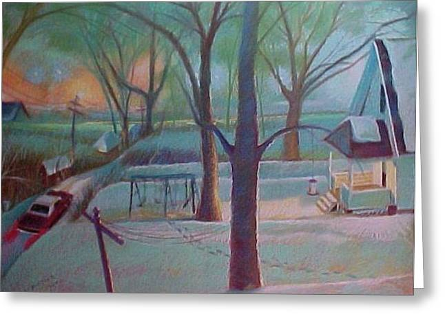 Stuck In The Snow In The Alley Greeting Card by Bobbi Baltzer-Jacobo