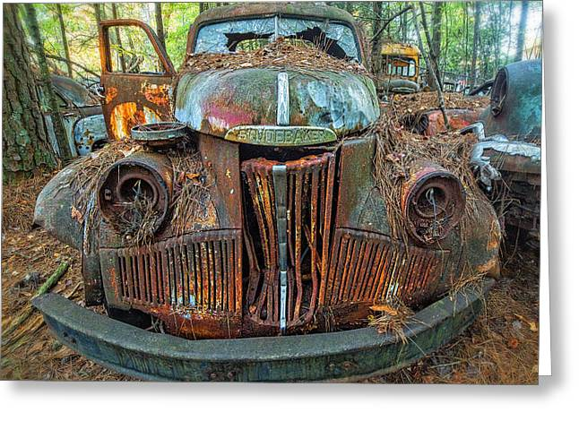 Studebaker With Broken Glass Greeting Card