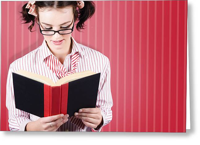 Student Reading Textbook While Learning With Study Greeting Card by Jorgo Photography - Wall Art Gallery