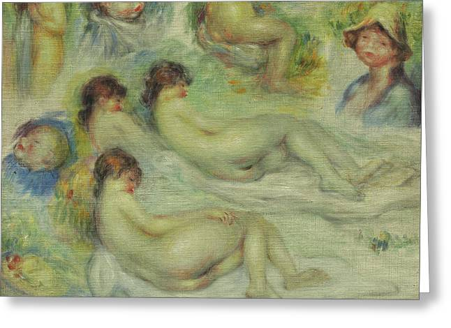 Studies Of Pierre Renoir, His Mother, Aline Charigot, Nudes, And Landscape Greeting Card by Pierre Auguste Renoir