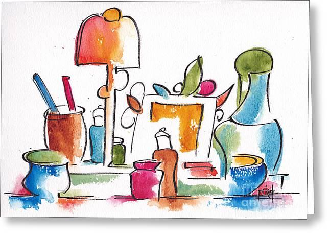 Studio Pals Abstract #9 Greeting Card by Pat Katz