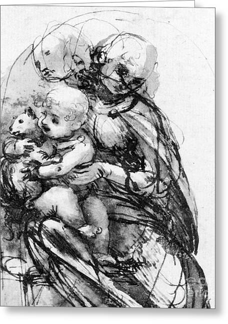 Study For A Madonna With A Cat Greeting Card by Leonardo da Vinci