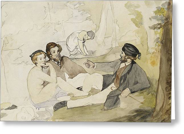 Study For Dejeuner Sur L Herbe Greeting Card by Edouard Manet