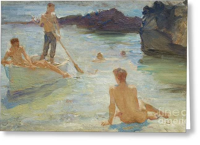 Study For Morning Splendor Greeting Card by Henry Scott Tuke