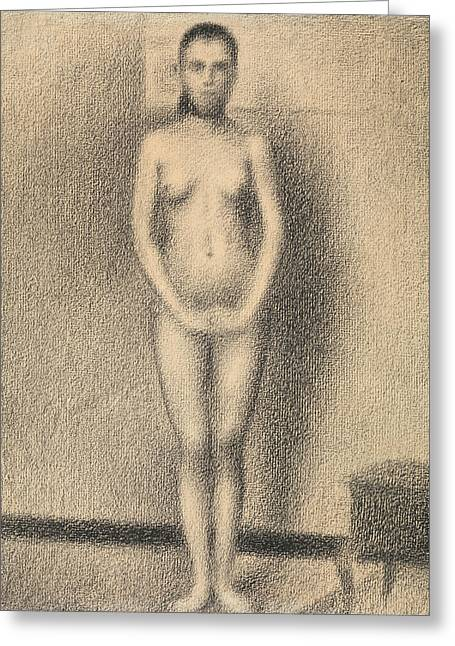 Study For Poseuses Greeting Card by Georges-Pierre Seurat