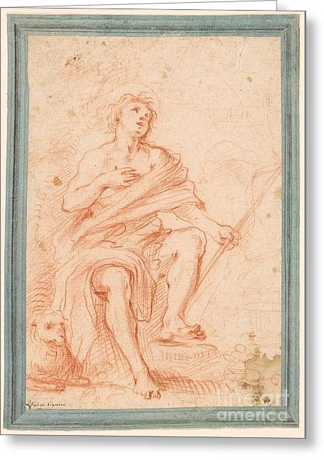 Study For St. John The Baptist Seated Greeting Card