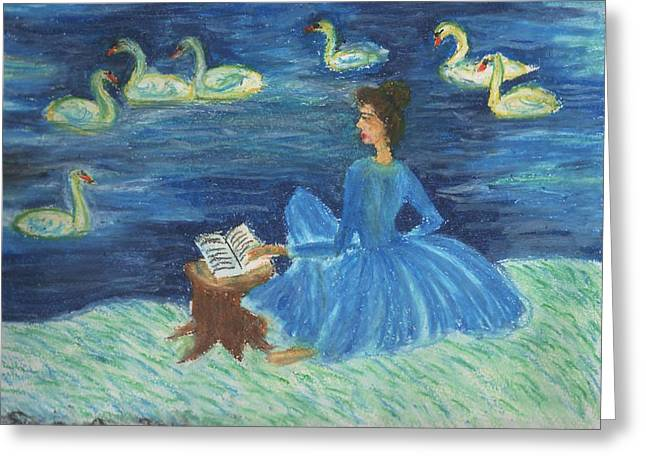 Study For Swan Lake Reader Greeting Card by Sushila Burgess