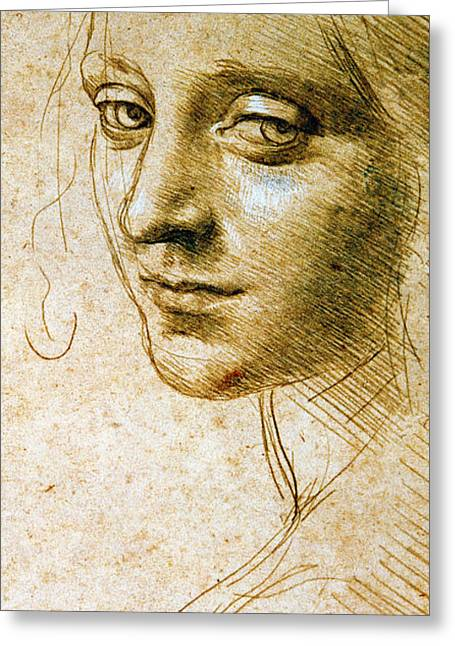 Study For The Angel Of The Virgin Of The Rocks Greeting Card by Leonardo da Vinci