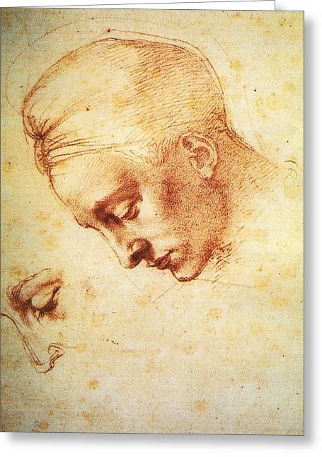 Study For The Head Of Leda Greeting Card by Michelangelo