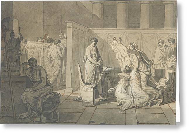 Study For The Lictors Bringing Brutus The Bodies Of His Sons Greeting Card by Jacques-Louis David