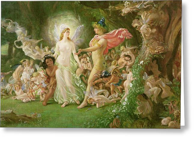 Study For The Quarrel Of Oberon And Titania Greeting Card by Joseph Noel Paton