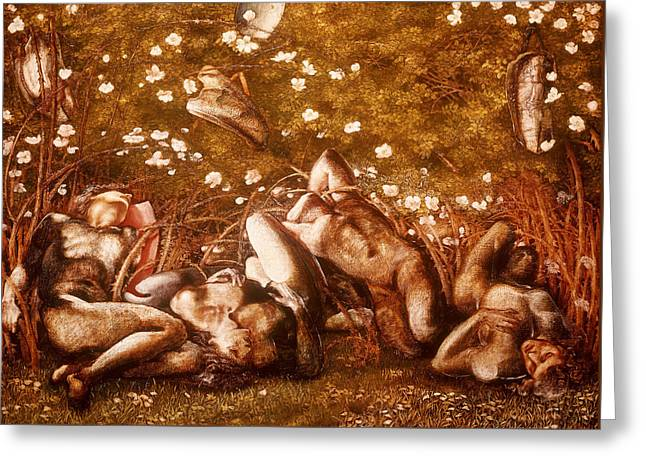 Study For The Sleeping Knights Greeting Card by Edward Burne-Jones