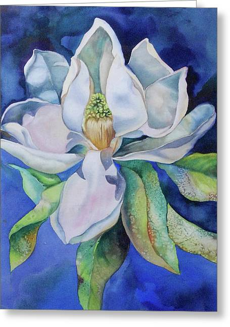 Study In Blue Greeting Card by Catherine Moore