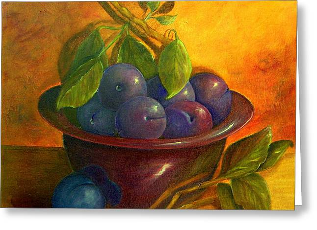 Study In Purple Greeting Card by Susan Dehlinger