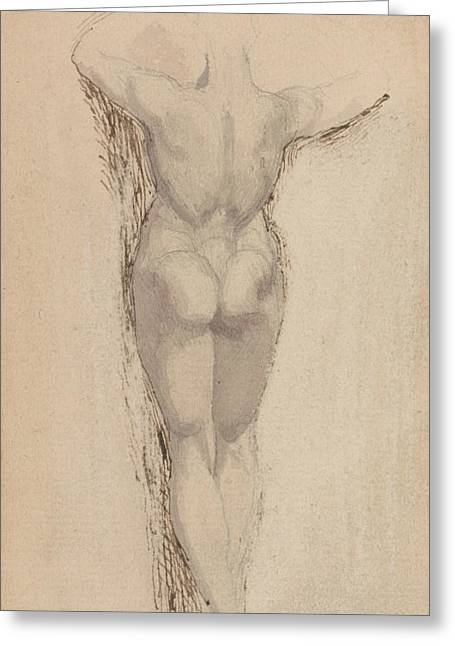 Study Of A Back Of A Female Nude Standing Greeting Card by Henry Fuseli