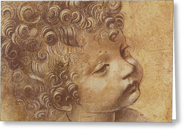 Study Of A Child's Head Greeting Card by Leonardo Da Vinci