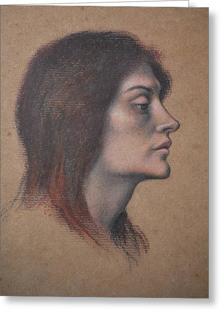 Study Of A Female Head For The Love Potion Greeting Card by Evelyn De Morgan