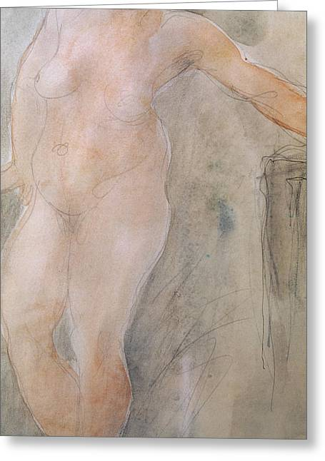 Study Of A Female Nude Greeting Card by Auguste Rodin