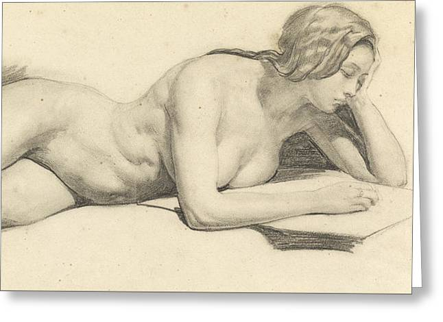 Study Of A Female Nude Reading Greeting Card