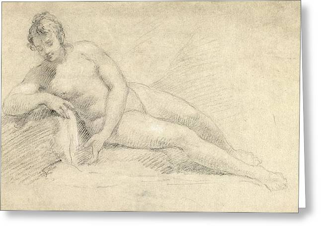 Etching Greeting Cards - Study of a Female Nude  Greeting Card by William Hogarth