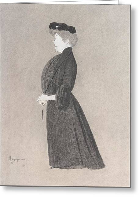 Study Of A Lady Dressed In Black Greeting Card by MotionAge Designs