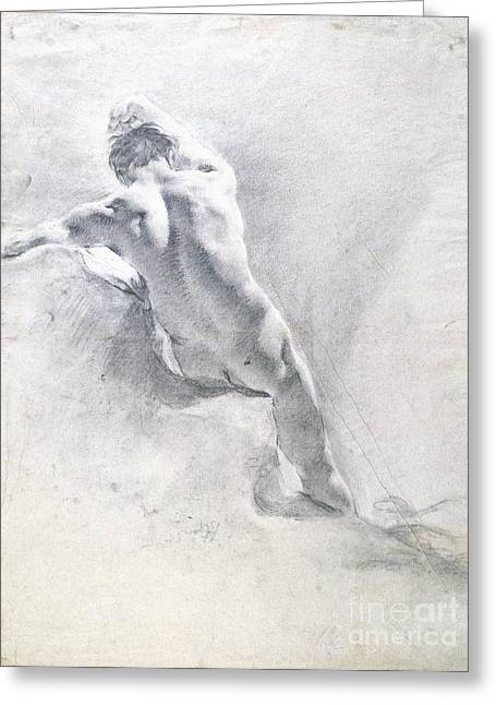 Back Pastels Greeting Cards - Study of a male nude Greeting Card by  Giambattista Piazzetta