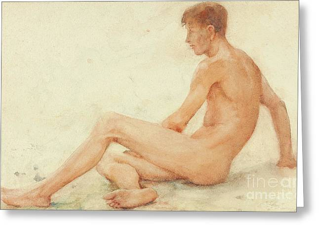 Study Of A Male Nude, Seated, Turning Away To The Right Greeting Card
