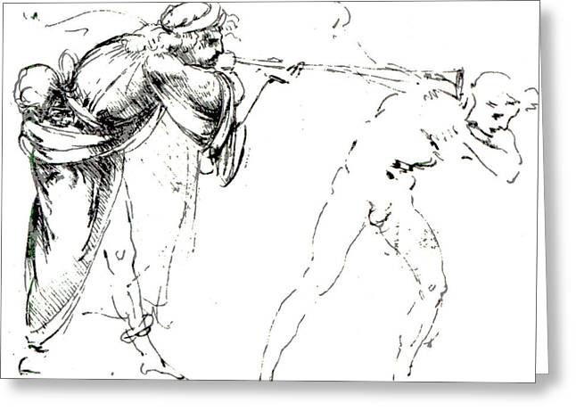 Study Of A Man Blowing A Trumpet In Another's Ear Greeting Card