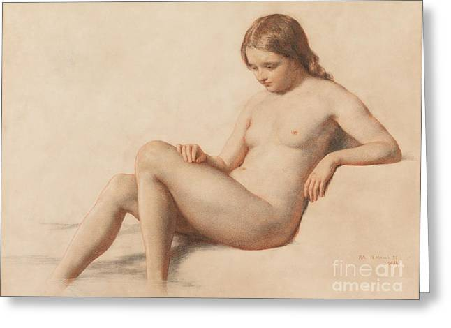 Pensive Drawings Greeting Cards - Study of a Nude Greeting Card by William Mulready