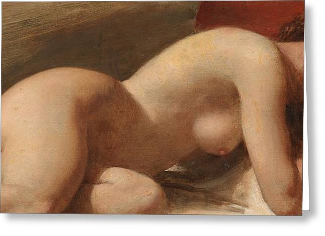 Chest Paintings Greeting Cards - Study of a reclining female nude Greeting Card by EW Wyon