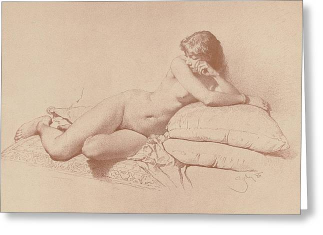 Study Of A Reclining Female Nude Greeting Card by Mihaly von Zichy