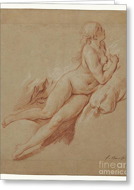 Study Of A Reclining Nude By Francois Boucher Greeting Card