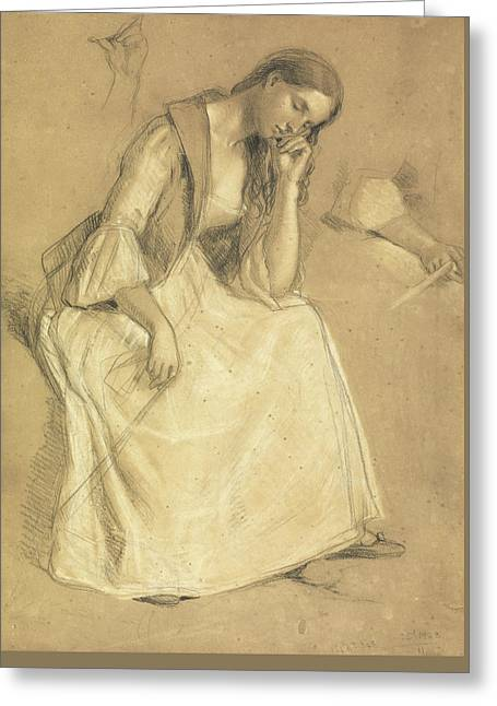 Study Of A Seated Girl Greeting Card