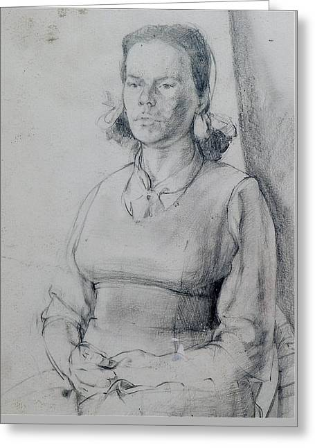 Study Of A Seated Girl. Greeting Card by Harry Robertson