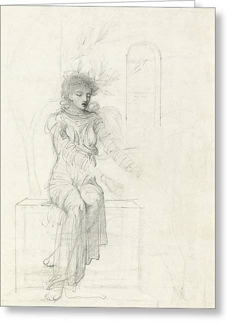 Study Of A Seated Woman Greeting Card