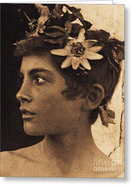 Study Of A Sicilian Boy With Passionflowers In His Hair, Sicily, Circa 1899 Greeting Card